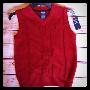 NWT Boys Izod Sweater Vest Red Size 8